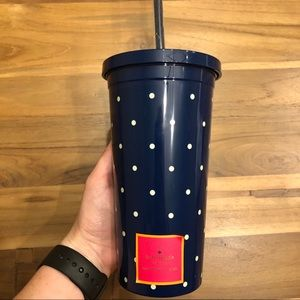NWT kate spade Larabee Navy Dot Insulated Tumbler